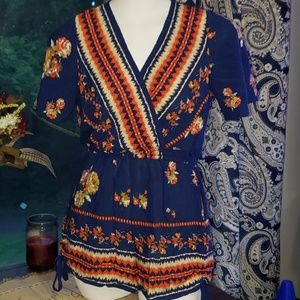 BAND OF GYPSIES Blue Floral Romper Small